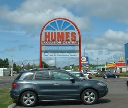 Humes Collision Center Sign
